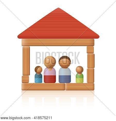 Typical Toy Family In Their Simple Wooden Toy Block House - Symbol For Simplicity Concerning Easy Li