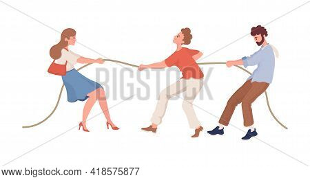 Men Versus Women Vector Flat Illustration Isolated On White Background. Male And Female Characters P