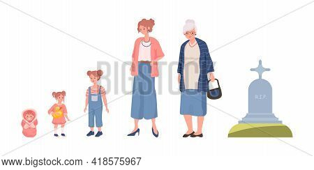 Cycle Of Woman Life Vector Flat Illustration Isolated On White Background. Female Character Growing