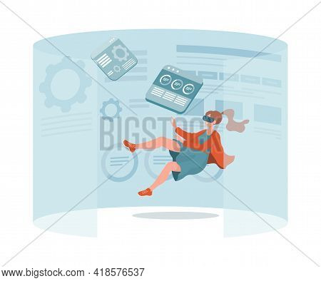 Young Woman Wearing Virtual Glasses And Touching Vr Interface And Settings Vector Flat Illustration.