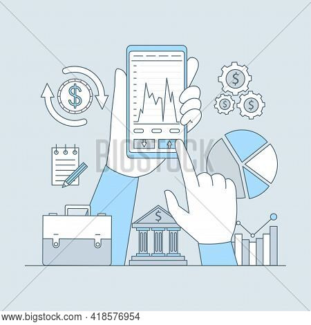 Online Investing Or Banking Application Vector Cartoon Outline Design. Hands Holding Smartphone With