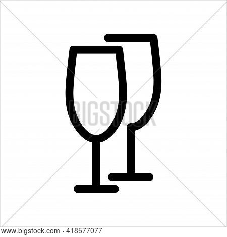 Brittle Or Packaging Glass Symbol For Print And Design. Wine Glasses Line Icon. Vector Clipart.