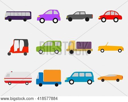 Flat Simple Clip Art Of Cars. Set Of Different Cars Like Bike, Bus, Suv And Other. Vector Eps Illust