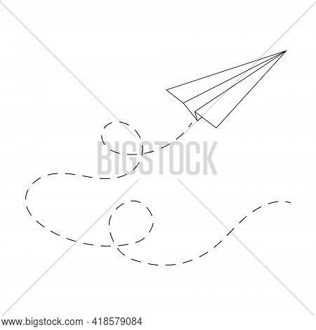Flying Origami Paper Plane With Path. Airplane Dashed Line. Symbol Of Success, Communication, Travel