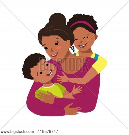 Mom Hugs Daughter And Son. Happy Mother Day. Woman Takes Care Of Boy And Girl. Cheerful African Amer