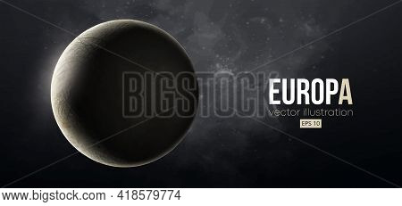 Realistic Europa Planet From Space. Vector Illustration