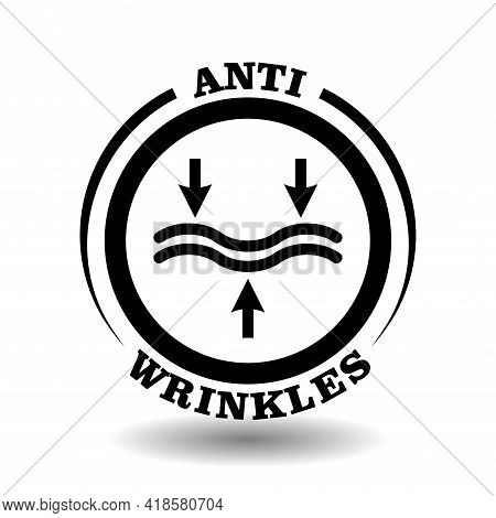 Circle Vector Logo For Anti Wrinkles Cosmetics Packaging. Anti- Aging Cream Icon With Rejuvenating C
