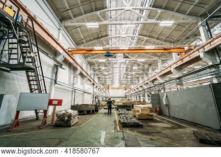 Typical Factory Workshop Inside, Production Wooden Molds And Steel Machinery Equipment, Industrial I
