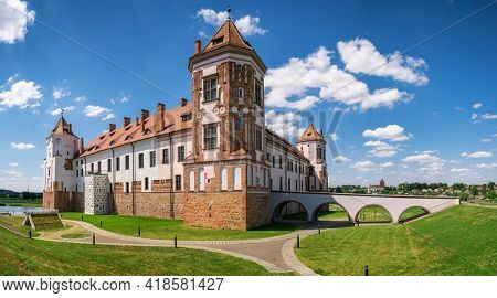 Panorama of the Mir Castle Complex, a UNESCO World Heritage site in Mir town at summer, Belarus