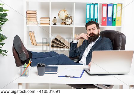 Done Enough For Today. Man Bearded Hipster Boss Sit In Leather Armchair Office Interior. Boss At Wor