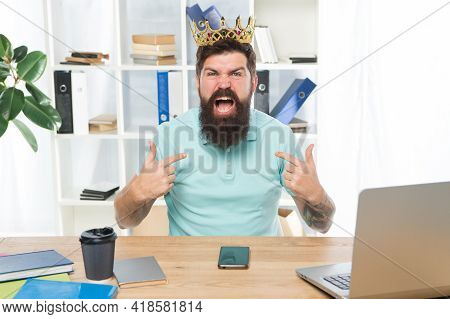 Respect Me. Man Arrogant Rude Boss With Golden Crown Sit In Office. Superiority And Self Confidence.