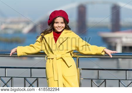 Stylish Child In Parisian Beret And Coat. Little Girl Outdoor. Spring Weather. Autumn Trend. Happy L