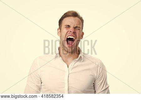 Emotional Explosion. Man Shouting Face Formal Shirt White Background. Man Scream Or Yawn Keep Eyes C