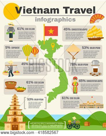 Vietnam Travel Infographic Set With Map Flag And Mountains Flat Vector Illustration