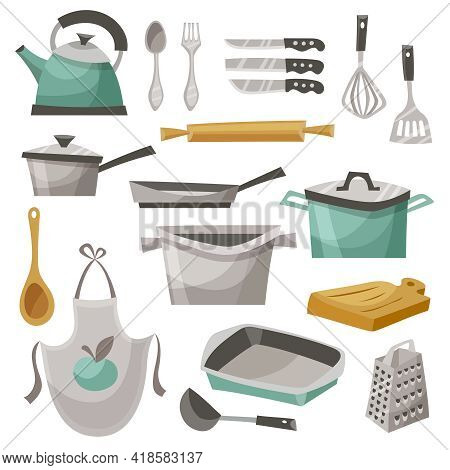 Kitchen Stuff Icons Set With Apron Frying Pan And Teapot Flat Isolated Vector Illustration
