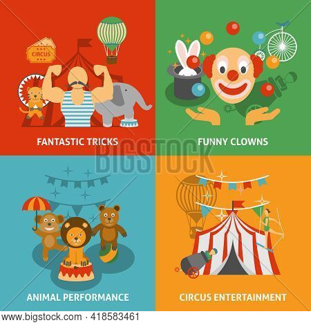 Circus Icons Set With Fantastic Tricks Funny Clowns Animal Performance And Entertainment Flat Isolat