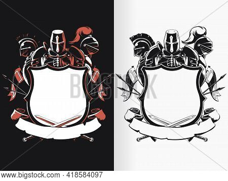 Silhouette Knight Shield Crest Stencil Drawing Coat Of Arm Vector