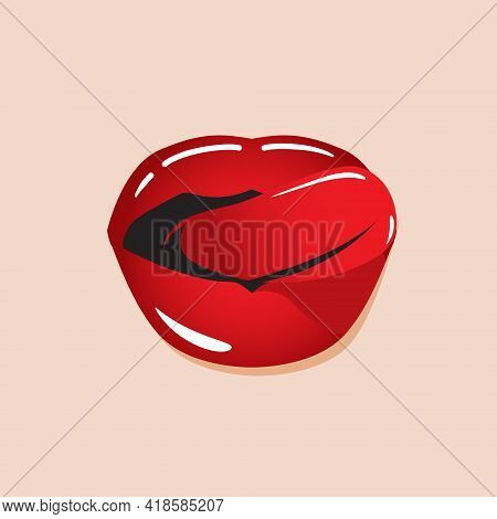 Licking Lips Vector Illustration. For Romance, And Valentine Theme Or Design Element.