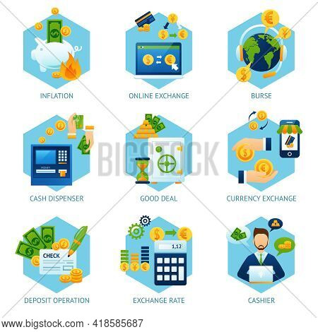 Currency Exchange Concept Set With Inflation Cash Dispenser Deposit Operation Icons Isolated Vector