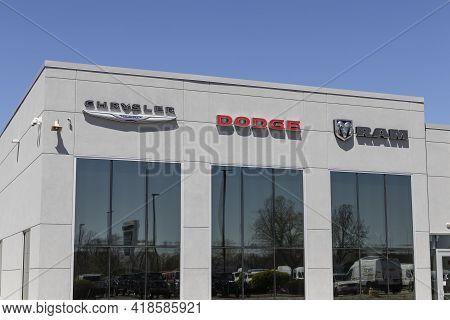 Indianapolis - Circa April 2021: Chrysler, Dodge, And Ram Logos. The Stellantis Subsidiaries Of Fca