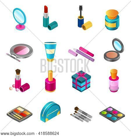 Cosmetics And Make-up Products Icons Set With Isometric Beauty And Skin Care Bottles Isolated Vector