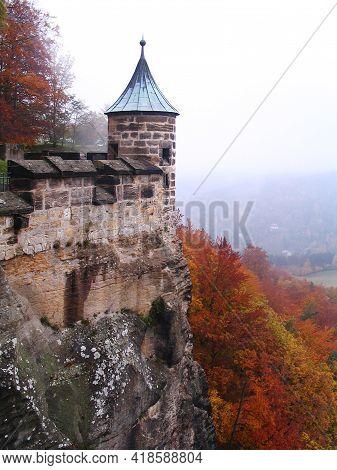 Turret In The Königstein Military Fortress In Autumn
