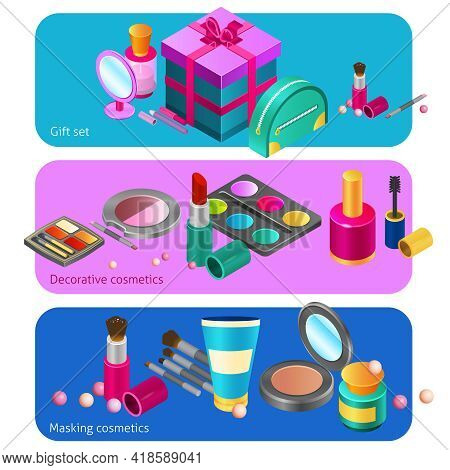 Cosmetics Horizontal Banners Set With Decorative Make-up Products Isolated Vector Illustration