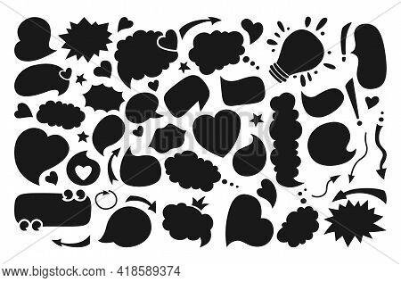 Speech Bubbles Blank Empty Flat Cartoon Set, Black Silhouette. Speech Thought Blobs Comics, Balloon
