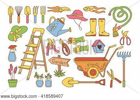 Garden Village Line Cartoon Set. Birdhouse, Rustic Stepladder. Rubber Boots, Rake And Gloves, Shovel