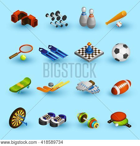 Sport Equipment Isometric Icons Set With Boxer Gloves Football Ball Baseball Bat Isolated Vector Ill