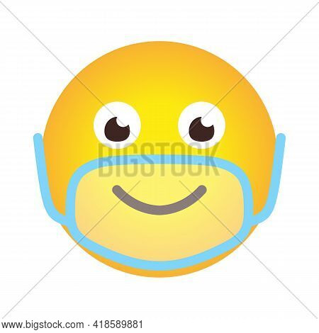 Closeup Emoji Icon In Limpid Mask. Emoticon Smile In Cartoon Style In Face Protective Mask As Sign P