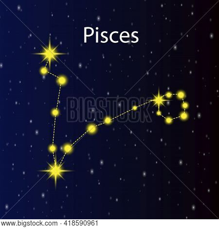 Abstract Illustration With Black Constellation Pisces. Vector Illustration. Stock Image. Eps 10.
