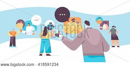 People Chatting In Messenger Or Social Network Chat Bubble Communication Online Instant Messaging