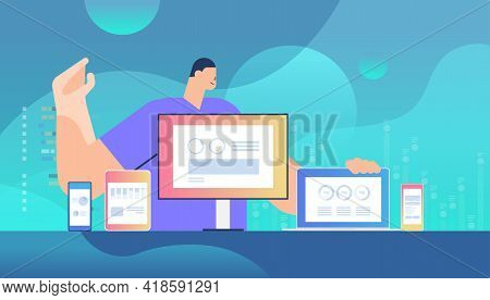 Businessman Monitoring Information On Different Devices Adaptive Responsive Web Design Application D