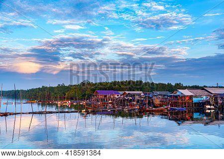 Beautiful Landscape At Fisherman Sam Chong Tai Village , Phang Nga Province, Thailand. Sam Chong Tai