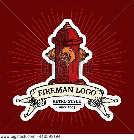 Logo Concept Of Vintage Fire Hydrant. Security Drawing Logotype Isolated With Shadow And Ray. Sketch