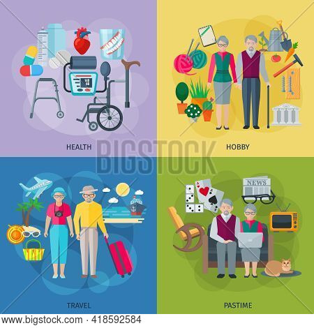 Pensioners Life Concept Icons Set With Health Hobby Travel And Pastime Symbols Flat Isolated Vector