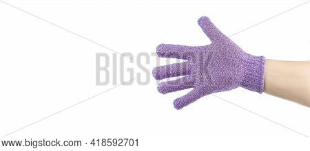 Hand With Exfoliating Massage Glove For Shower, Space For Text