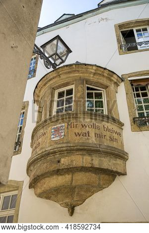 Luxembourg, Grand Duchy Of Luxembourg - July 06, 2018: An Old Balcony On The Facade Of A House In Th