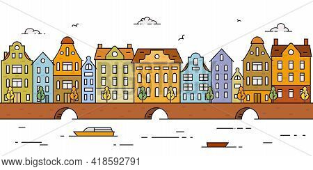 Simple Panorama Of Colorful European City With Historical Buildings. Europe, Holland, River, Sea Cha