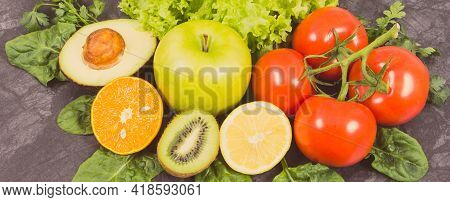 Ripe Fruits With Vegetables As Healthy Nutritious Snack Containing Natural Vitamins. Vintage Photo