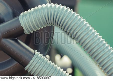 Plastic Corrugated Pipes In Agricultural Or Industrial Machinery. Detail And Part Of Hydraulic Or Pn