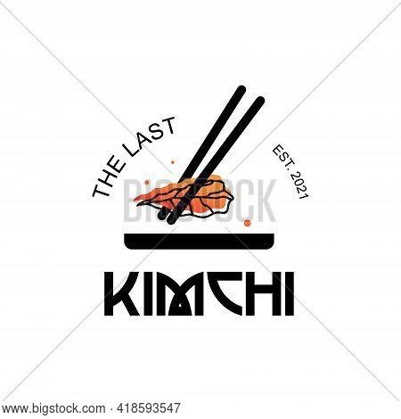 Kimchi Logo Graphic Design Vector With Chopstick Label Traditional Food Korean Cuisine Fun Sticker I