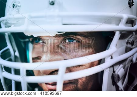 Strong and determined American football player
