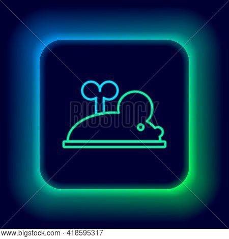 Glowing Neon Line Clockwork Mouse Icon Isolated On Black Background. Wind Up Mouse Toy. Colorful Out