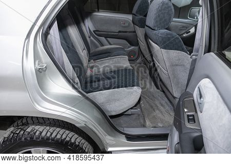 Novosibirsk, Russia - April 25 2021: Toyota Harrier, Comfort Car Inside. Clean Car Interior: Black B