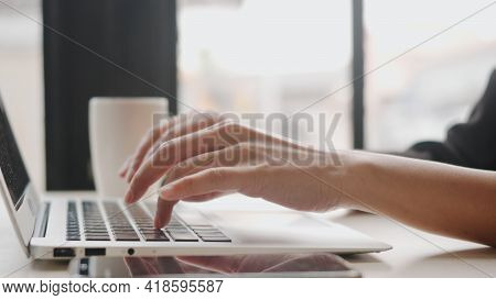 Closeup Businesswoman Working Typing On Laptop Computer Keyboard, Young Woman Freelancer Busy While