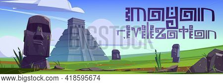 Ancient Mayan Pyramids And Moai Statues On Easter Island. Vector Poster With Cartoon Landscape With