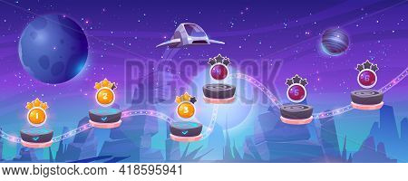 Mobile Arcade With Spaceship, Interstellar Shuttle Hover Above Alien Planet With Rocks And Assets On