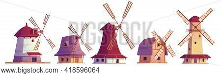 Old Windmills, Vintage Stone And Wooden Wind Mills. Traditional Dutch Farm Buildings For Grinding Wh
